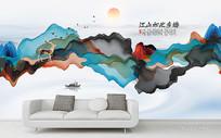 意境抽象水墨山水背景墙