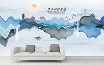 意境水墨山水装饰画沙发背景墙