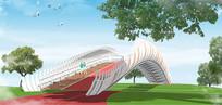 异形景观桥SU模型
