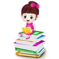 原创元素手绘卡通小女孩读书素材