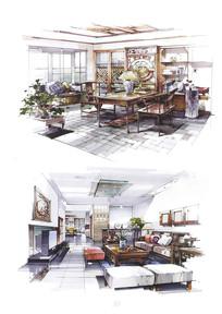 中式古典室内装修手绘设计
