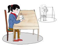 卡通读书的小女孩插画