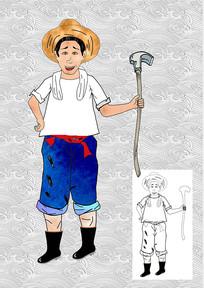 卡通农民插画