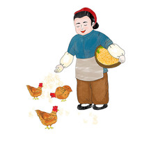 喂养鸡的老奶奶插画