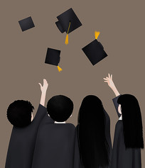 毕业季博士服装可爱卡通