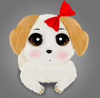 可爱卡通手绘狗