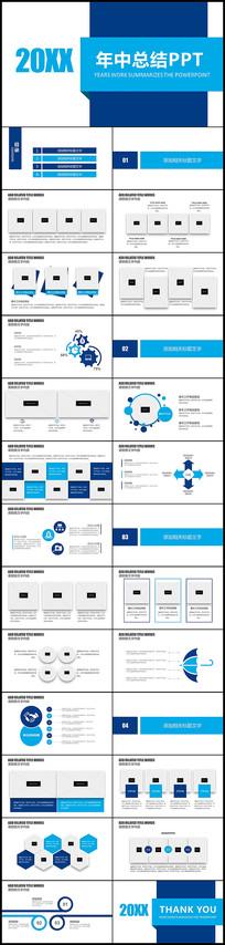 蓝色扁平年中总结工作汇报告PPT模板