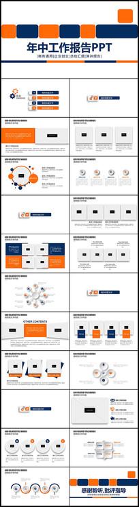 微立体商务简约蓝橙色年中工作报告PPT