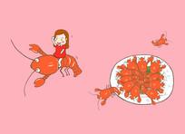 原创手绘元素麻辣小龙虾