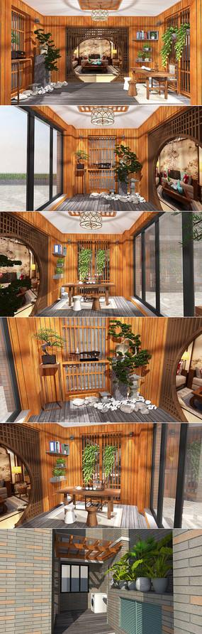 中式花园茶室阳台