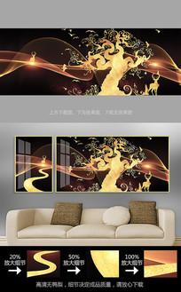 北欧麋鹿客厅装饰画沙发背景墙