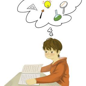 创意小男孩思考问题培训班元素