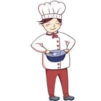 卡通创意男厨师展示厨艺元素