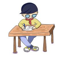 卡通暑假培训班小男生学习元素