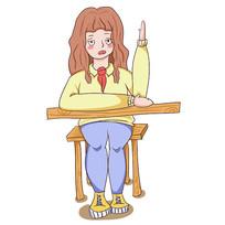 卡通暑假培训班小女生举手元素