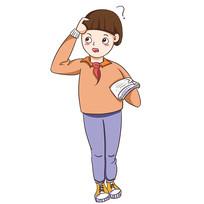 卡通暑假培训班小女生学习元素