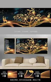 轻奢麋鹿发财树客厅装饰画晶瓷画