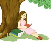 手绘创意女孩在树底下看书培训班元素