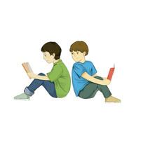 手绘创意培训班辅导班小男孩看书学习元素
