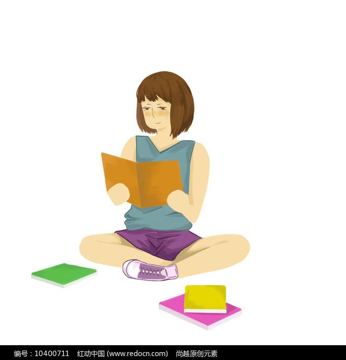 手绘创意培训班辅导班小女孩看书学习元素图片