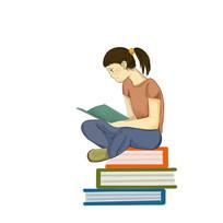 手绘创意培训班辅导班小女孩看书学习元素