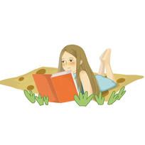 手绘风培训班辅导班小女孩看书学习元素