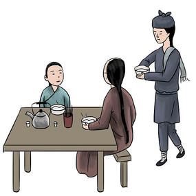 手绘古装人物吃早餐美食小吃元素 PSD