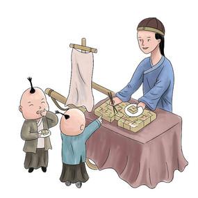 手绘古装人物路边摆美食小吃地摊元素