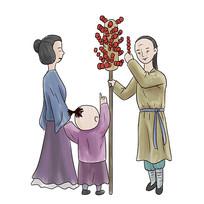 手绘古装人物卖冰糖葫芦美食小吃元素