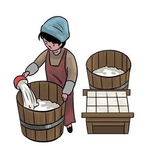 手绘古装人物制作豆腐美食小吃元素
