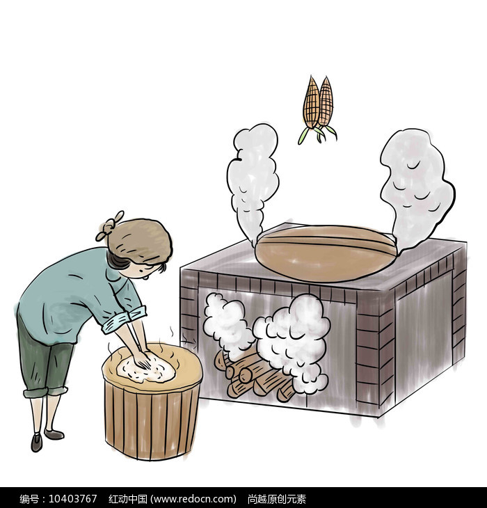 手绘老奶奶制作腊肉美食小吃元素图片