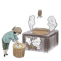 手绘老奶奶制作腊肉美食小吃元素