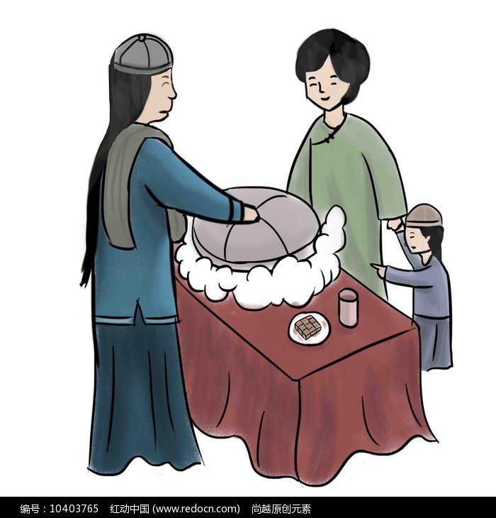 手绘路边古装人物母子买美食小吃元素图片
