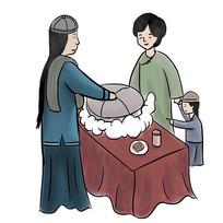 手绘路边古装人物母子买美食小吃元素