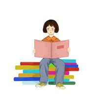 手绘培训班辅导班小女孩看书学习元素