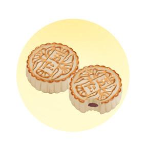 中秋节月饼手绘素材psd