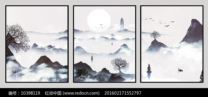 古典山水室内装饰画图片