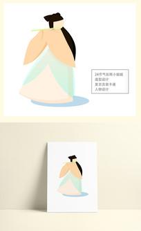 谷雨小姐姐扁平化复古古装卡通形象设计