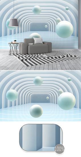 立体圆球建筑空间3d背景墙