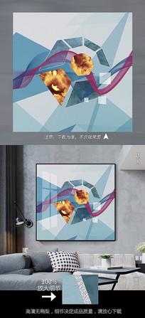 现代几何元素创意艺术客厅晶瓷画北欧装饰画