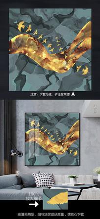 艺术抽象金色飞鸟玄关晶瓷装饰画