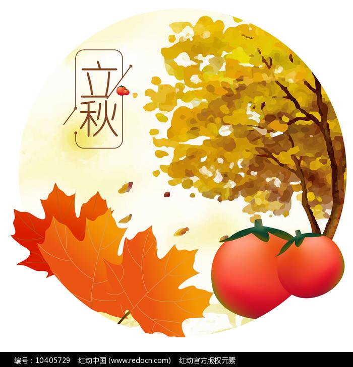 原创元素24节气立秋柿子枫叶图片