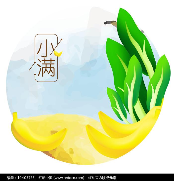 原创元素24节气小满绿叶菜香蕉图片