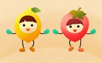 原创元素水果形象芒果草莓