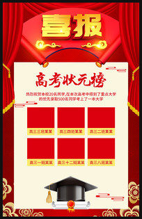 红色高考喜报海报设计