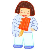 卡通可爱女孩吃冰棒夏天夏日元素