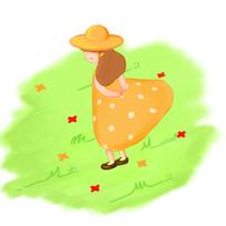 卡通可爱女孩在草坪上吹风夏季元素