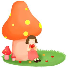 卡通可爱女孩在蘑菇屋下草坪上吃西瓜元素