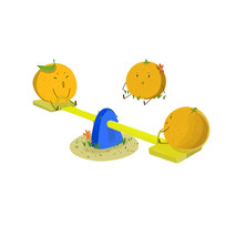 卡通可爱手绘赣南脐橙跷跷板元素