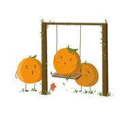 卡通可爱手绘赣南脐橙荡秋千元素